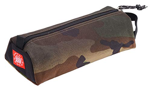 Rough Enough Big Pencil Case Pouch Holder Bag Box for Adults Girls Boys with Zipper and Name Tag Label in Military Camo Raw Cordura with Special Screen print for School Stationery Art Supplies Car