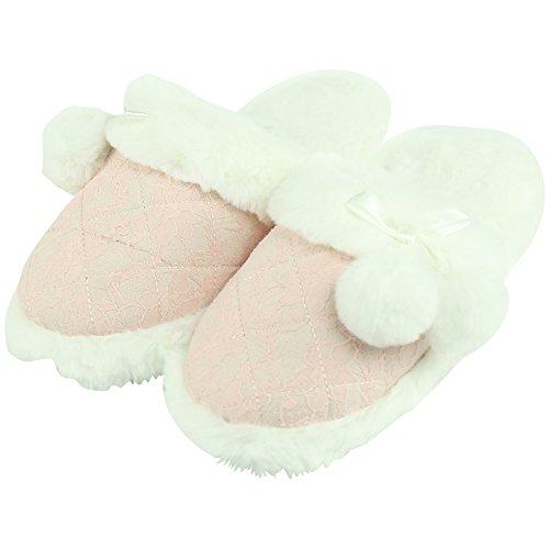 Pantoufles De Femmes De Forfoot Douillette En Peluche Douillette Glissement Sur La Maison Intérieure Pantoufles Rose Dentelle