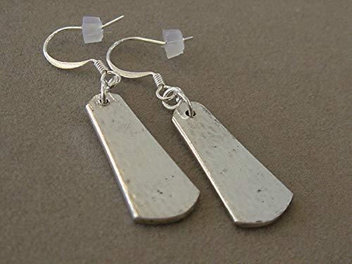 (Spoon Jewelry Earrings 1916 Heraldic Hammer Spoon Handle Silver Spoon Earrings Silverware jewelry Recycled jewelry)
