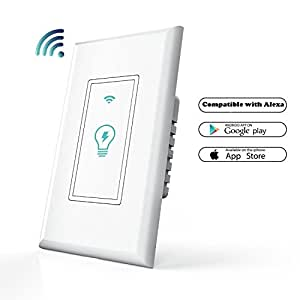 Smart Wi-Fi Light Switch In-Wall, NewRice Mobile Phone Remote Control Wireless Switch, Automatic Control Your Fixtures From Anywhere, Works with Amazon Alexa