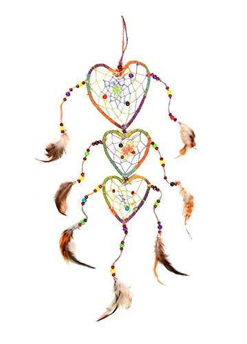 4Rissa Dream Weaver Triple Heart Rainbow Dreamcatcher Feathers Beaded Dream Catcher Boho Bohemian Hippie Gift Home Decor
