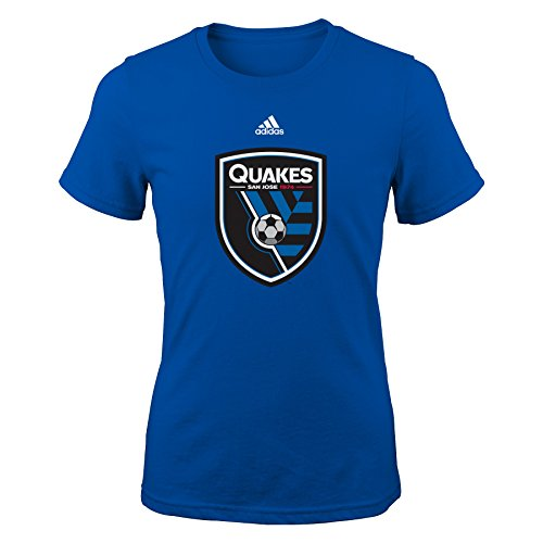 fan products of MLS San Jose Earthquakes Girls -Primary Logo Short sleeve Tee, Royal, Medium (10-12)