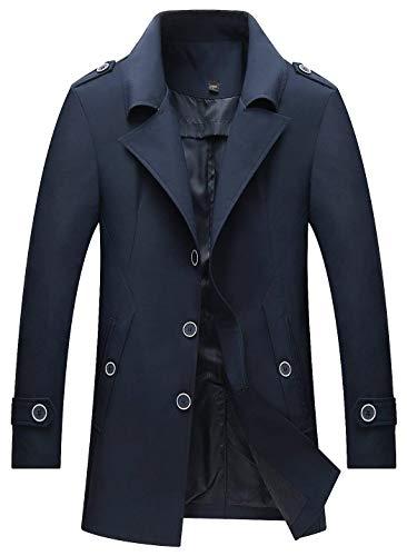 Business Outwear Lapel Windbreaker Apparel Polyester Autumn Huixin Coat Sleeve marine Trench Outerwear Men's Single Jacket 1 Winter Long Breasted Long w1Iqxa7
