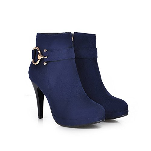Womens Boots Platform Stiletto Suede Ornament Imitated amp;N Metal A Blue p5CT6qwx