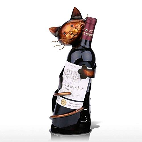 Desconocido Estantería de Vino con Forma de Gato de Metal, práctica Figura Decorativa para Botellas, Oficina, decoración...