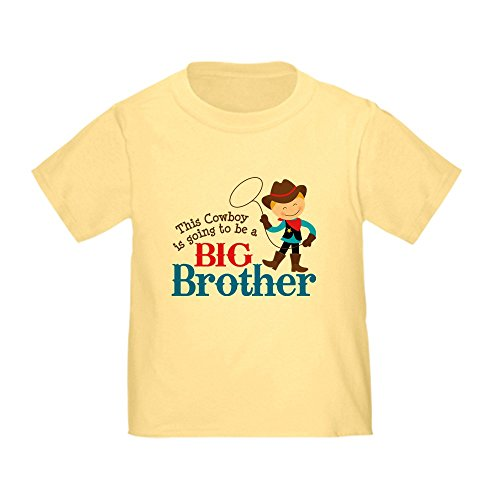 CafePress Cowboy Big Brother to Be Cute Toddler T-Shirt, 100% Cotton Daffodil Yellow