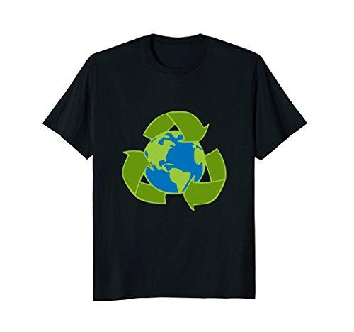 Mens Planet Earth Recycle Symbol T-Shirt | Environmentalist 3XL Black (Symbol Recycle)