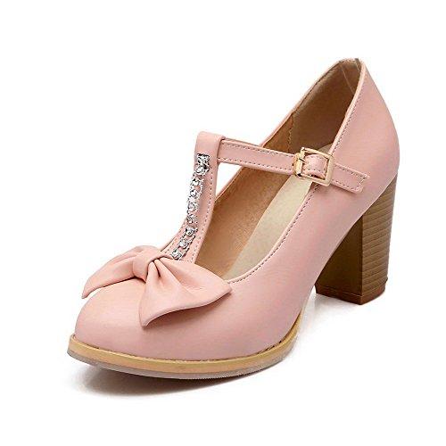 scarpe Rosa Alti Elaborazione Amoonyfashion Tacchi Punta Donne Chiusa Di Delle Fibbia Solido Pompe Dell'unità Rotonda An0wdq6AH