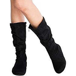 Low Heel Mid-Calf Slouchy Suede Boots
