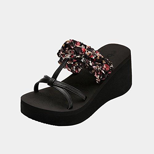 Sandalias Femeninas Moda de Verano Exterior Wear Slope Grueso Bottom Beach Sandalias antideslizantes Pinch ( Color : 1 , Tamaño : EU38/UK5.5/CN38 ) 4