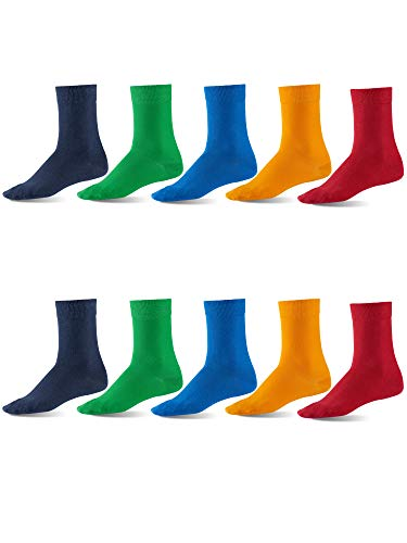 s Dress Socks, European, Cotton, Classic Crew, also Women's Sizes, 10-pack Fun Colors XL ()