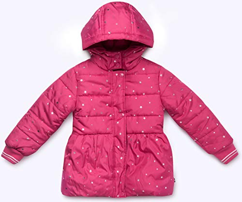 - Nautica Girls' Big Puffer Coat with Removable Hood, Dark Pink, 8/10