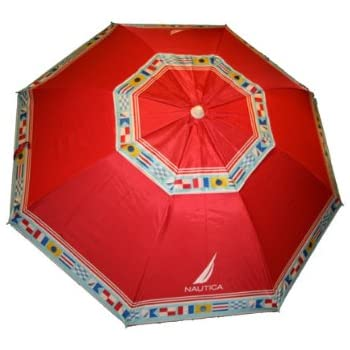 Amazon Com Nautica Beach Umbrella Upf 50 Red Patio