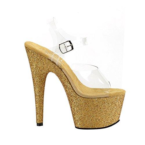 Pleaser Plateau Sandale mit Transparenten Knöchelriemen, Absatz und Plattform in Gold mit Multi-Glitzer, ADORE-708HMG
