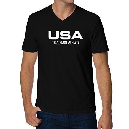 Teeburon USA Triathlon Athlete ATHLETIC AMERICA V-Neck - Usa Triathlon