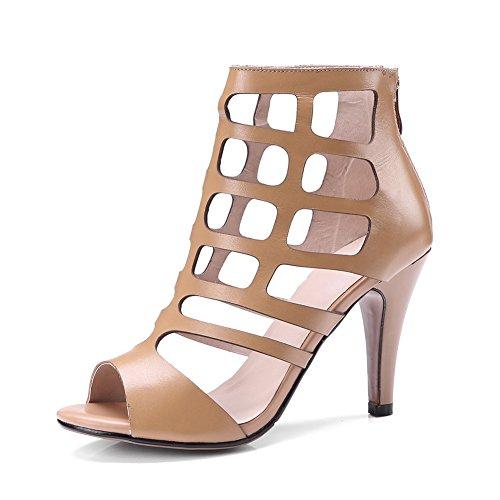 35 Stiletto Toe Nero Con Donna Stivali Peep Metà Alla Brown Caviglia Sandali Taglia Da Per Nvxie Estivi 45 Scarpe Bassa Cinturino wq6xgXnCUa