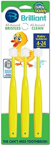 Brilliant Baby Toothbrush by Baby Buddy - for Ages 4-24 Months, BPA Free Super-Fine Micro Bristles Clean All-Around Mouth, Kids Love Them, Yellow, 3 Count