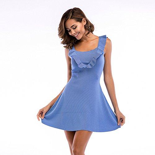 tondo da balza Colletto Vestito con da estivo Blu giorno Abito maglia da Abito donna altalena FuweiEncore Abito cocktail Abito in P5fwB