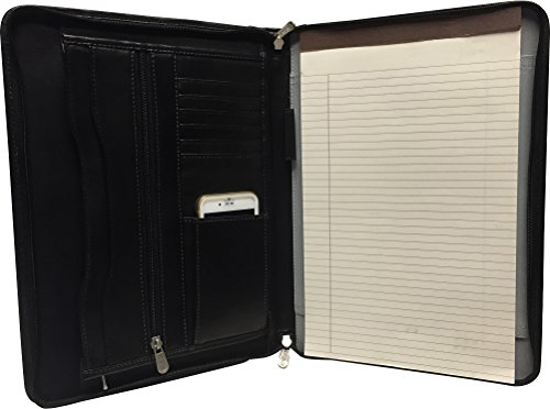 "Zippered Leather Legal size Portfolio includes 8.5"" x 13.5' Legal Size Writing Pad- Black by Bravo!"