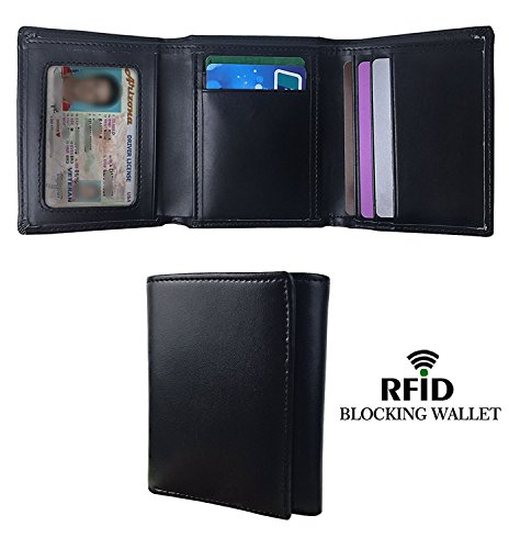 RFID Blocking Wallet , Mens RFID Blocking Trifold Leather Wallet with ID (Leather Id Wallet)