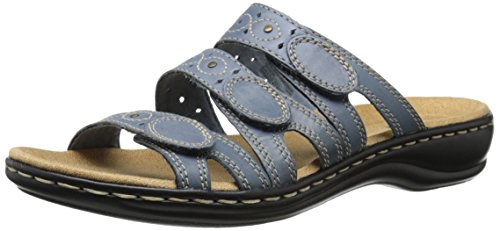 CLARKS Women's Leisa Cacti Slide Sandal, Denim Blue Leather, 9 N US