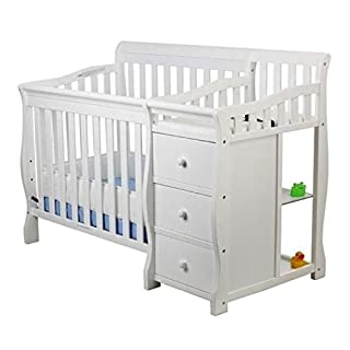 Pemberly Row 4-in-1 Mini Convertible Crib Bed and Baby Changing Table with Storage Drawer Changer Combo in White