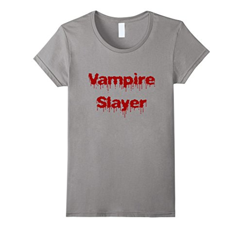 [Womens Vampire Slayer T-shirt DIY Halloween Costume Funny Scary XL Slate] (Diy Costume Vampire)
