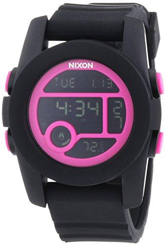 Nixon A4901614 Unit 40 Chrono Digital Magenta Black Rubber Band Unisex Watch NEW