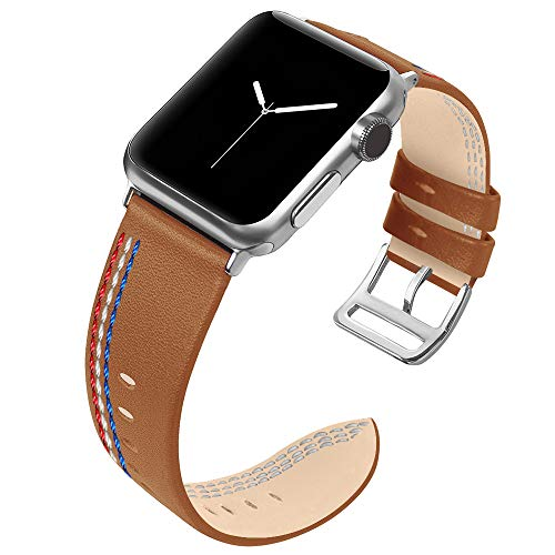 MIFFO Compatible with Apple Watch Band 38mm 40mm 42mm 44mm, Genuine Leather Wristband Replacement Strap Bracelet for iWatch Bands Series 4, Series 3, Series 2, Series 1 ()