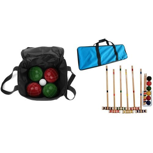 Bundle: Trademark Games 9 Piece Bocce Ball Set with Easy Carry Nylon Case and Complete Croquet Set with Carrying Case by Trademark Games