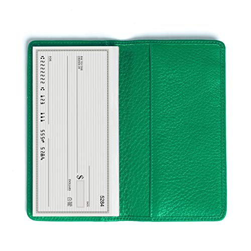 Leatherology Standard Checkbook Cover - Full Grain Leather - Kelly Green (green)