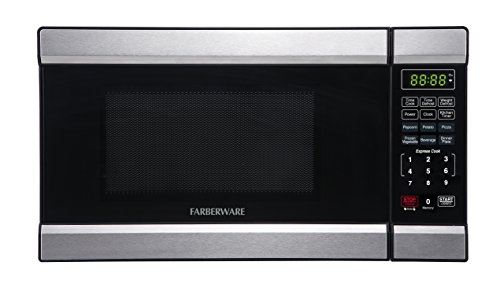 Farberware FMO07ABTBKQ 0.7 Cubic Foot 700 Watt Microwave Oven, Stainless Steel/Black For Sale