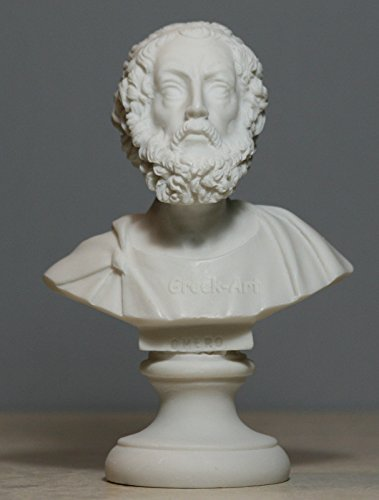 Greek Bust of 1st Epic Poet Author Homer Art Statue Alabaster Sculpture 5.91΄΄ ()