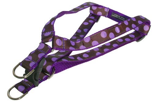 Sassy Dog Wear 18-24-Inch Orchid/Chocolate Dot Dog Harness, Medium