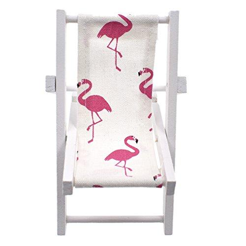 Lychee Mini Foldable Wooden Beach Chair Longue Deck Chair Mini Garden Lawn Furniture Dollhouse Accessories