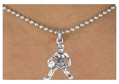 Female Basketball Player Charm Comes On A Necklace Style (Female Basketball Charm)