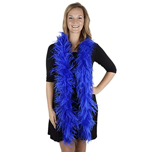ZUCKER 6' Flapper Ostrich Boa - Royal Blue Feather Halloween Cosplay Costume Accessory -