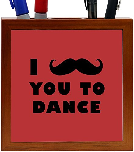 Rikki Knight I Mustache You To Dance Red Color Design 5-Inch Tile Wooden Tile Pen Holder (RK-PH42947) by Rikki Knight