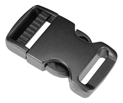 Strapworks Plastic Single Adjustable Side Release Buckles - for Bag Straps, Belts, Rifle Slings, Dog Collars - 1 Inch - 10 Pack