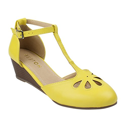 Beston DE17 Women's T-Strap Ankle Buckle Mid Wedge Pumps Run One Size Small, Color Yellow, Size:9