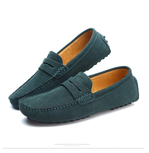 Uomo Uomo pelle Shoes Scarpe Estate Style Green Driving Mocassini vera Moda Mocassini morbidi Flats in Dark dvIqwT