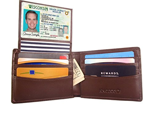 Bi Fold Striped Wallet (KNOXX Wallets RFID Secure Men's Wallet, Premium RFID Blocking, Holds 10 Cards, Transparent ID Holder, 2 Currency Slots, Genuine Leather, Durable with High Capacity Storage, Brown, One Size)