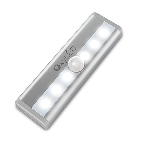 OxyLED Motion Sensor Lights, Mini Size with 6 LED Night Light for Closet Cabinet Wardrobe Ambry Cupboard Drawer Stairs Step, Stick-on Safe Lights Bed Light, 1 Pack, Battery - Lighthouse Outlets Place