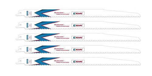 (EZARC Reciprocating Saw Blade Nail Embedded Wood Demolition 12-Inch 6TPI R1222DH)
