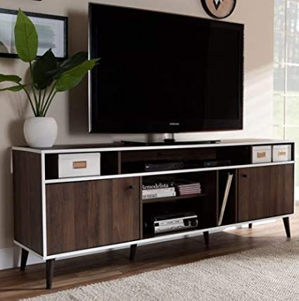 Amazoncom Tv Stand For 70 Inch Tv Brown White Wood Ten Shelf