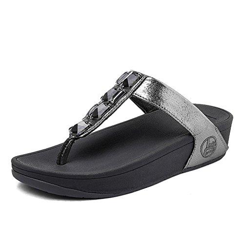 Zapatos NVXIE Antideslizante Mujer Pendiente Grey Playa Pellizcar Rhinestone Sandalias de Chancletas Fondo Grueso xFf1qS
