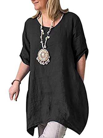 Cicy Bell Women's Cotton Linen Tunic Tops Half Sleeve Summer Loose Fit Casual Dresses - Black - Large