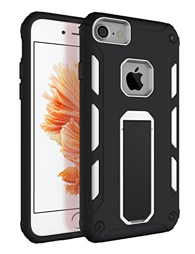 iPhone 7 Case, iPhone 8 Case with Kickstand, Tobomoco Hard PC and Soft TPU Bumper Slim Shockproof Drop Protection 2 in 1 Protective Phone Case Cover for Apple iPhone 7/8 [4.7 inch], White