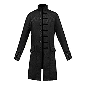 MasaRave Mens Victorian Frock Coat Steampunk Jacket