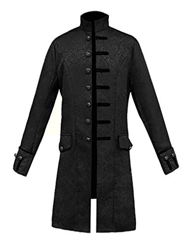 MasaRave Mens Victorian Frock Coat Steampunk Jacket (Black, -